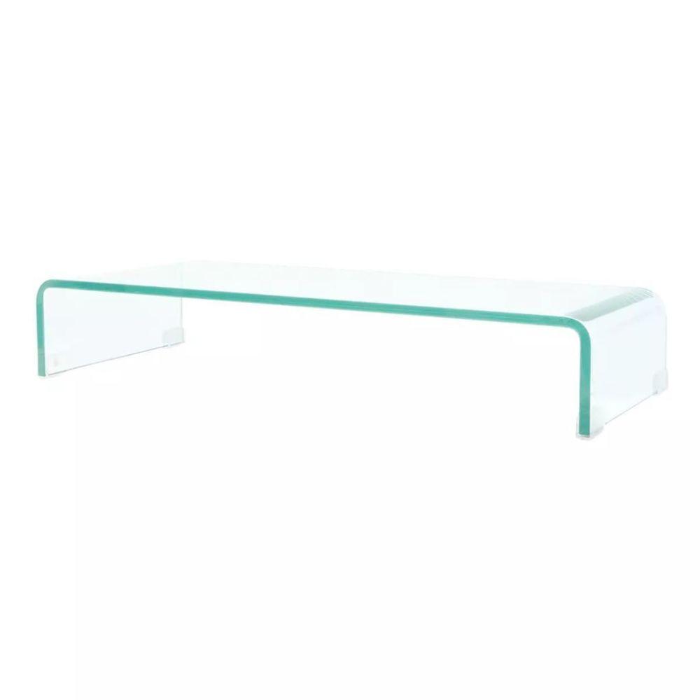 Helloshop26 Meuble télé buffet tv télévision design pratique pour moniteur 80 cm verre transparent 2502221