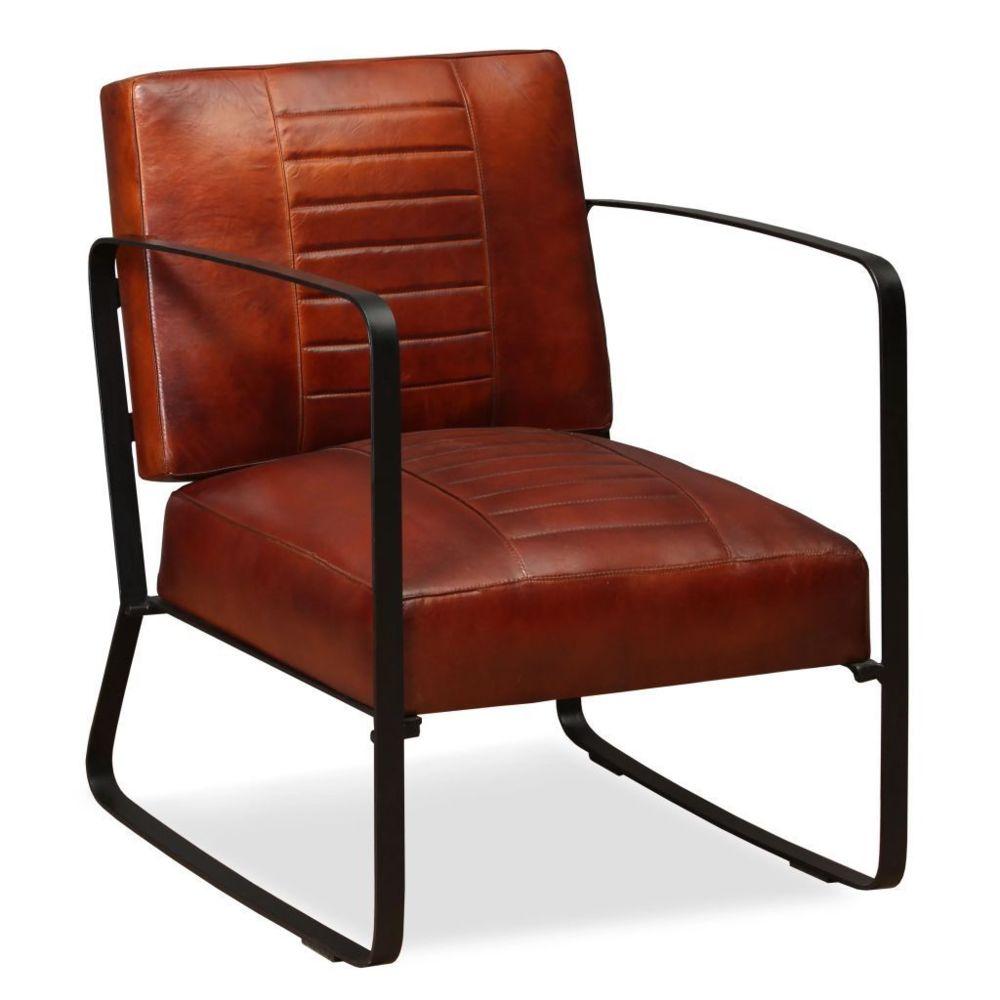 Helloshop26 Fauteuil chaise siège lounge design club sofa salon de salon en cuir véritable marron 1102322