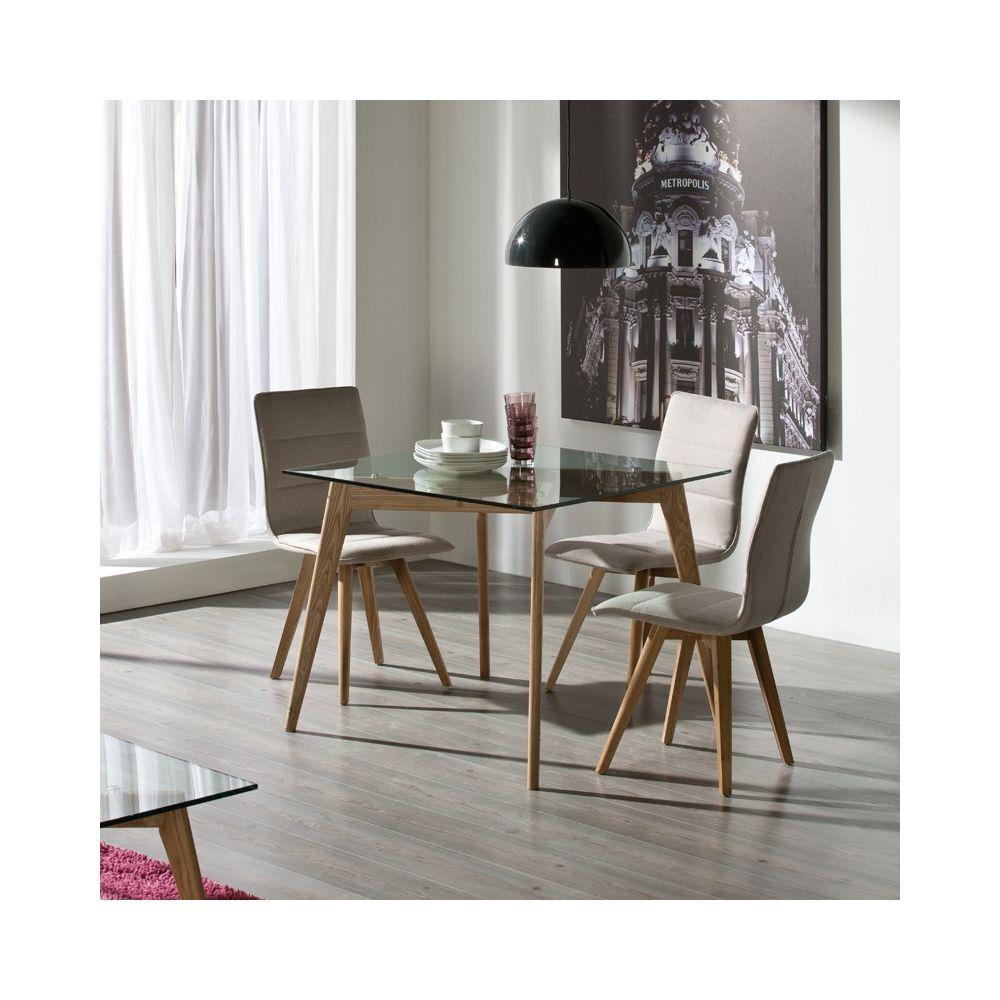 Tousmesmeubles Table de repas Carrée Verre/Frêne - SAMBA