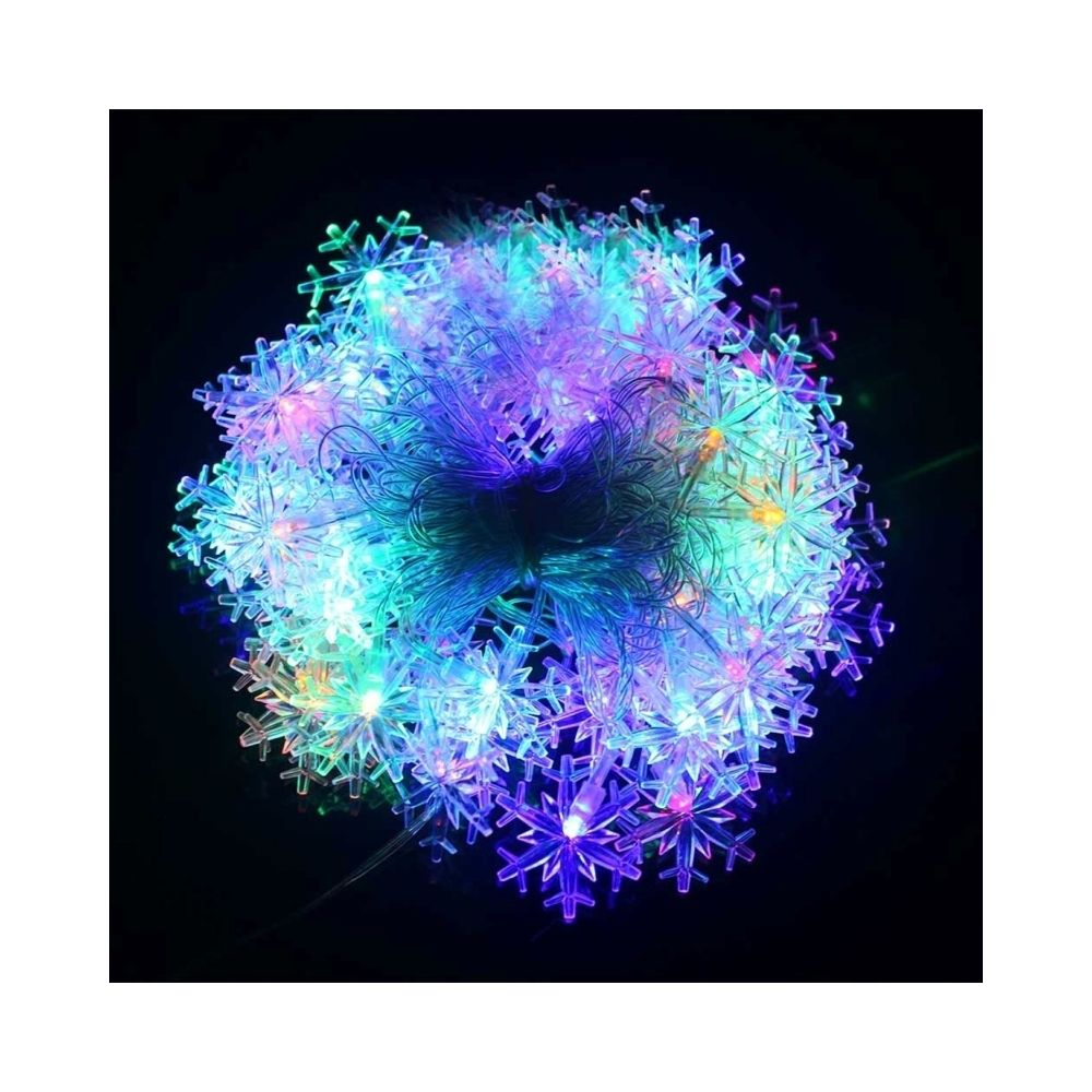Wewoo Guirlande Lumières de décoration de chaîne de forme de flocon de neige de 10m 70 LED avec l'interface d'extension, CA 11