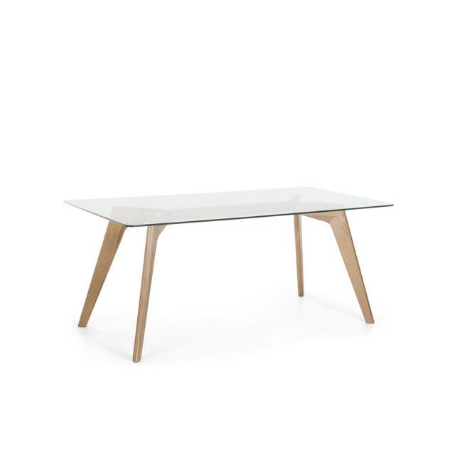 beliani table de salle a manger 180x90 hudson transparent