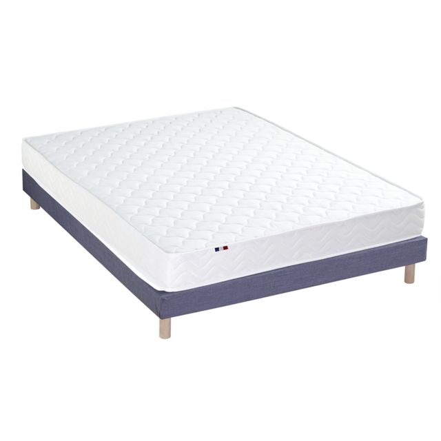 Idliterie - Ensemble Matelas Mousse réversible STRATUS + Sommier - Made in France Dimensions - 140 x 190 cm, Sommier - Bleu denim - Ensembles de literie