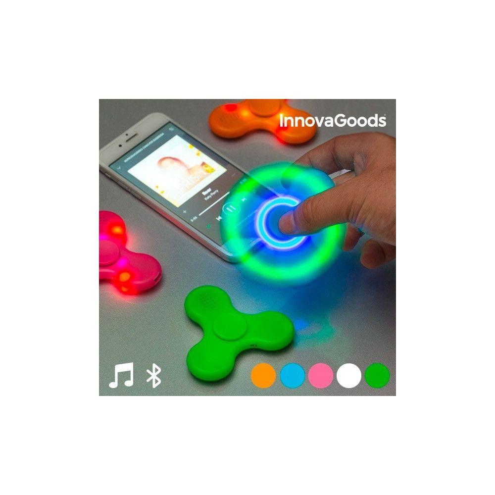 Totalcadeau Spinner sonore et lumineux à connectivité Bluetooth - Jeu détente original avec Haut-parleur Couleur - Blanc