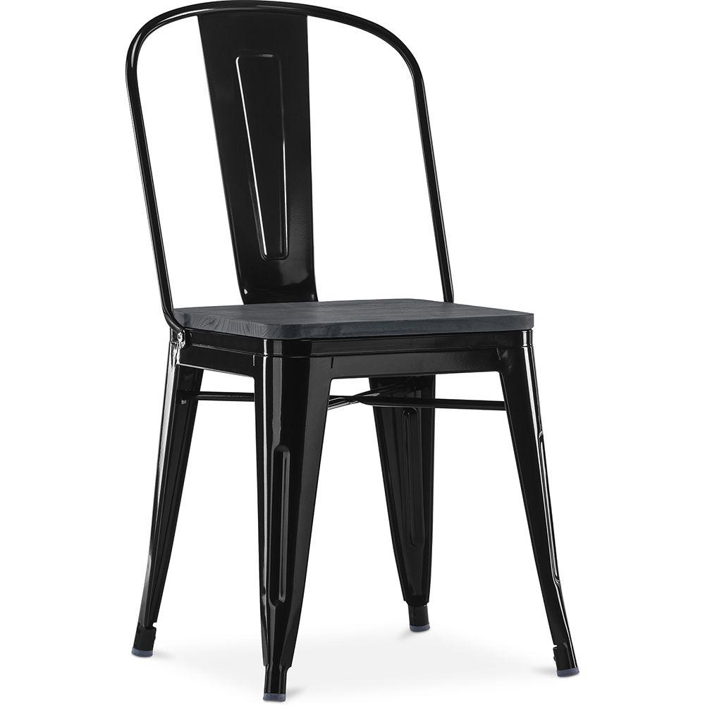 Privatefloor Chaise carrée style Tolix - Métal et bois Noir