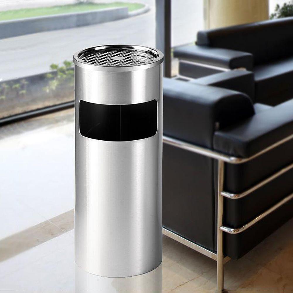 Jeobest Poubelle extérieur avec Cendrier en acier inoxydable argenté 25*25*60cm