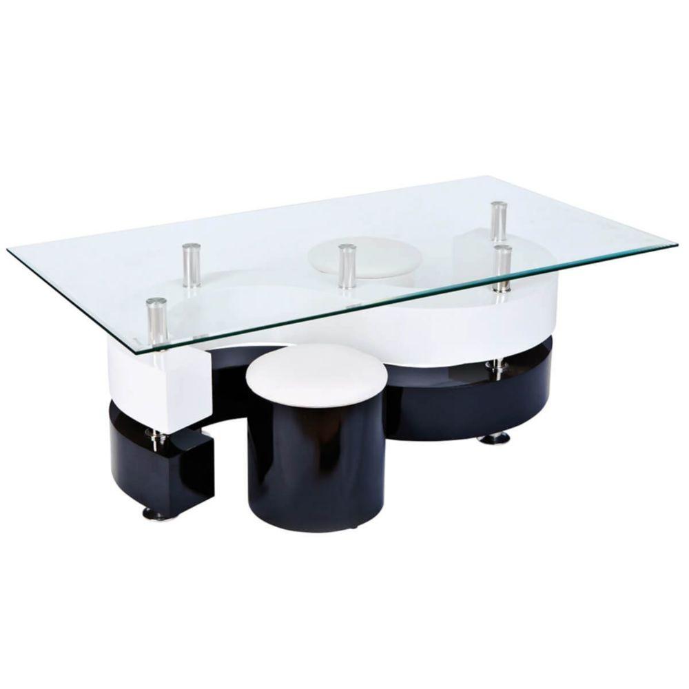 Altobuy Welle - Table Basse Rectangulaire et 2 Poufs Noir et Blanc