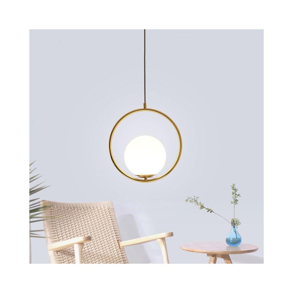 Wewoo Lampe suspendue Luminaire Salon Creative Lustre Anneau Salle À Manger Chambre Boule De Verre (Blanc Froid)