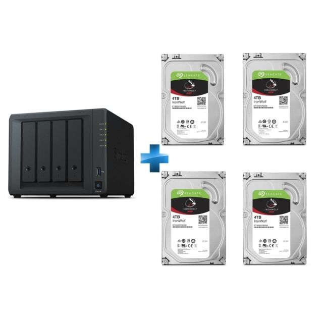 Synology - DS418 - 4 baies +  4 IronWolf 4 To 3.5'' SATA III (6 Gb/s) Cache 64 Mo - Synology