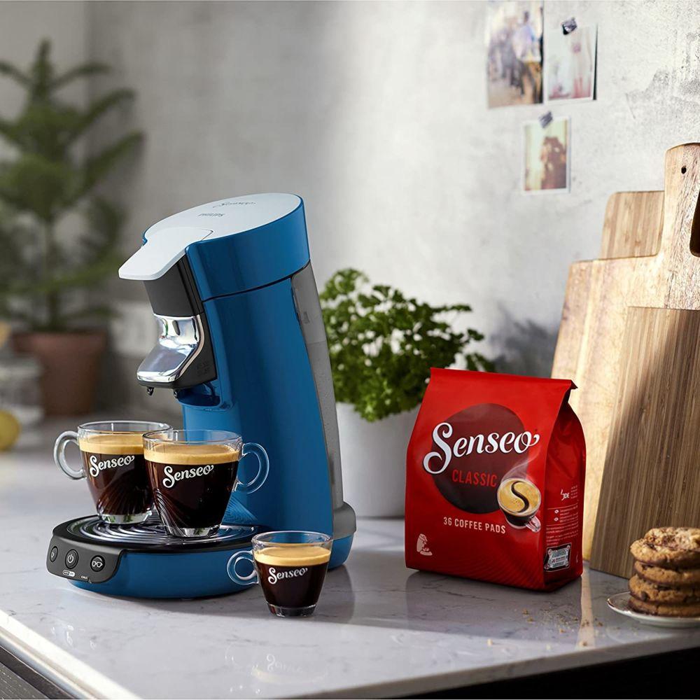 Philips Machine à Café à Dosettes SENSEO de 0,9L 1450W gris bleu canard noir