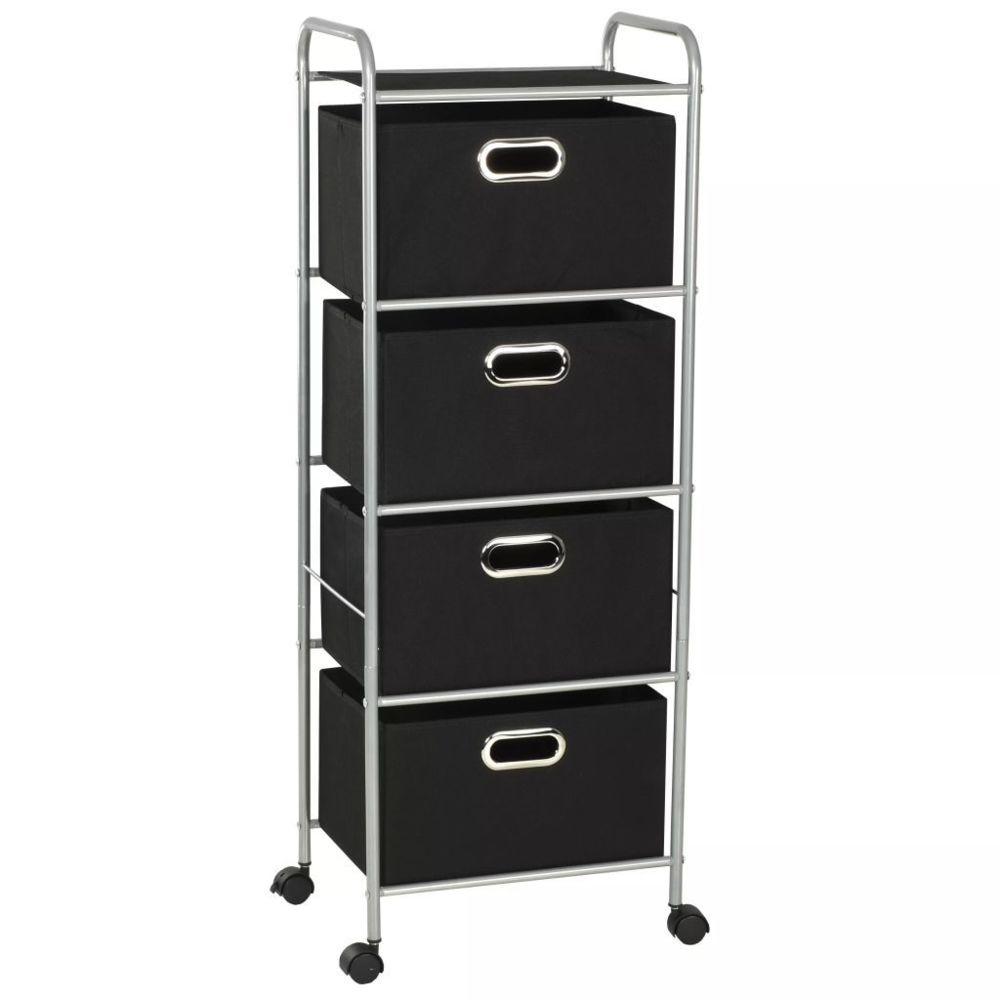 Vidaxl Unité à étagères avec 4 boîtes de rangement Acier et tissu | Noir - Rangement et organisation - Produits ménagers | Noir