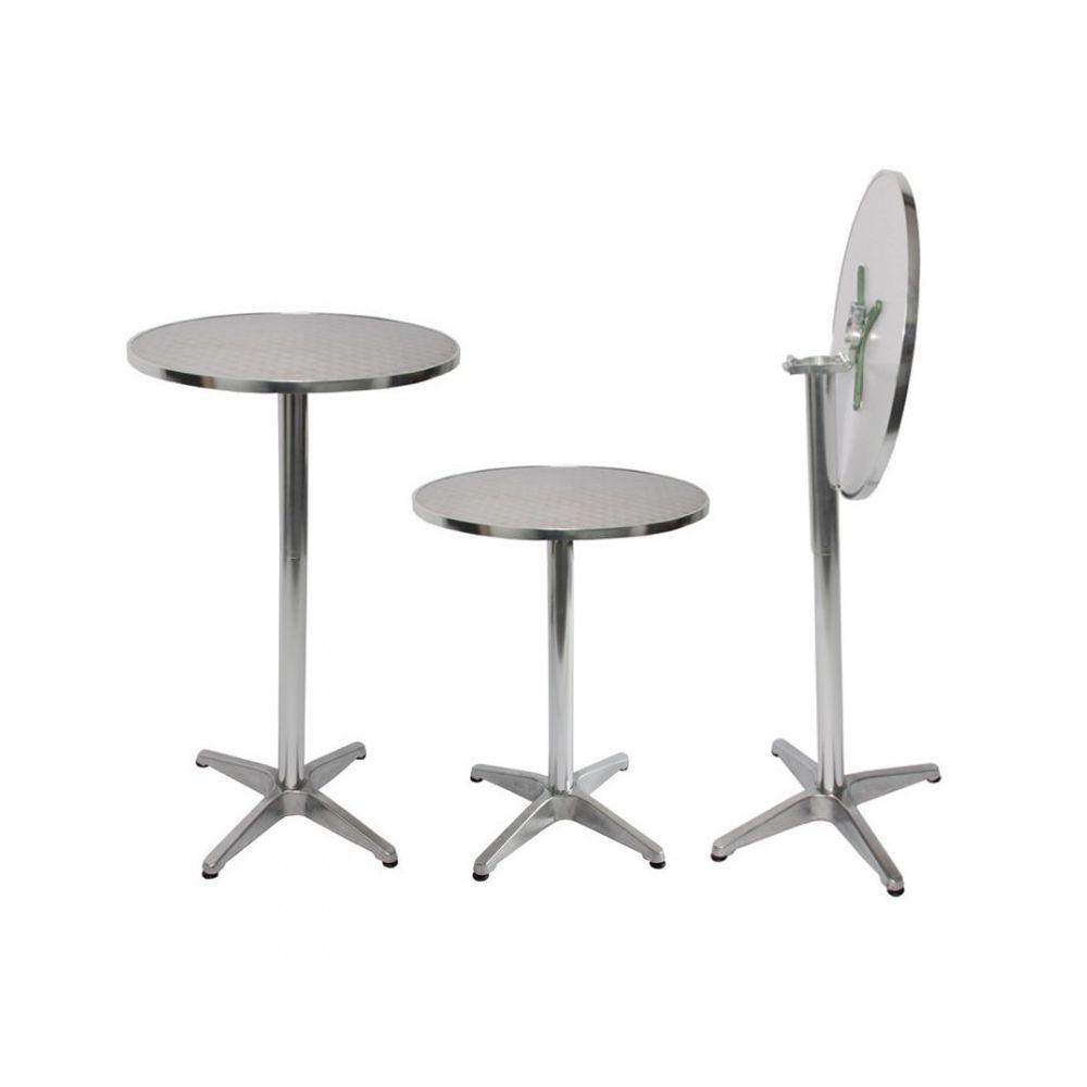 Decoshop26 Table haute bar bistrot jardin balcon hauteur réglable TAB04006