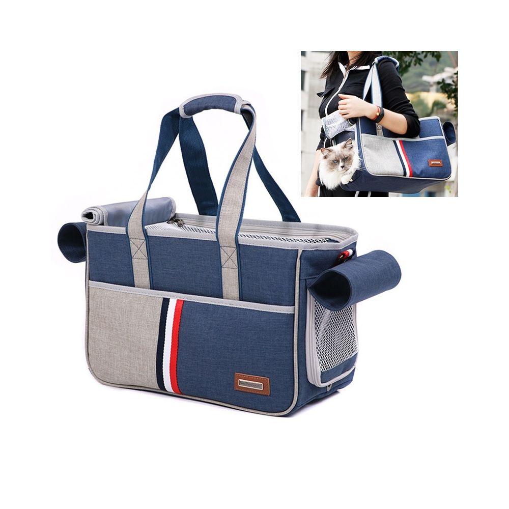 Wewoo DODOPET Outdoor Portable Oxford Tissu Chat Chien Pet Carrier Bag Sac à main à bandoulièreTaille 29 x 20 x 51 cm Bleu