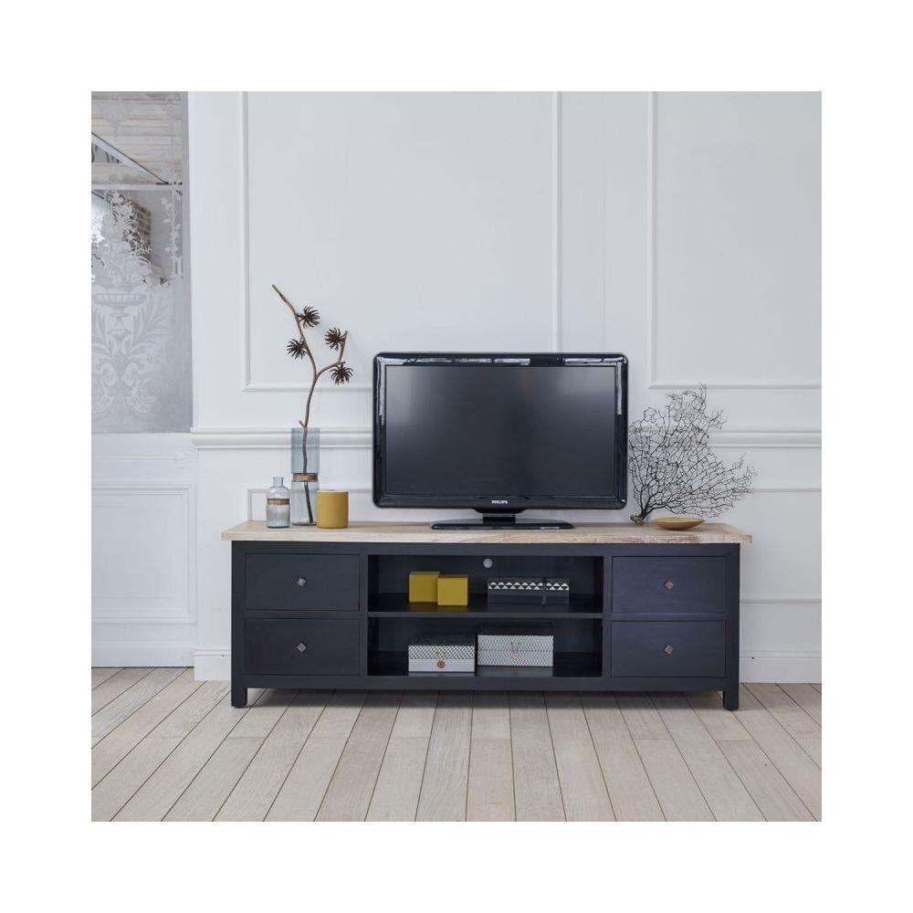 Bois Dessus Bois Dessous Meuble TV en bois d'acajou et teck 4 tiroirs