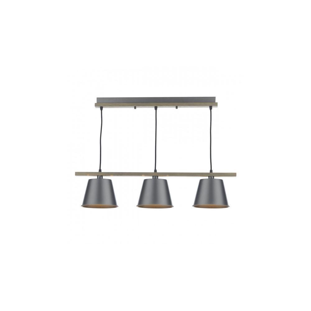 Luminaire Center Suspension Arken gris satiné et bois 3 ampoules