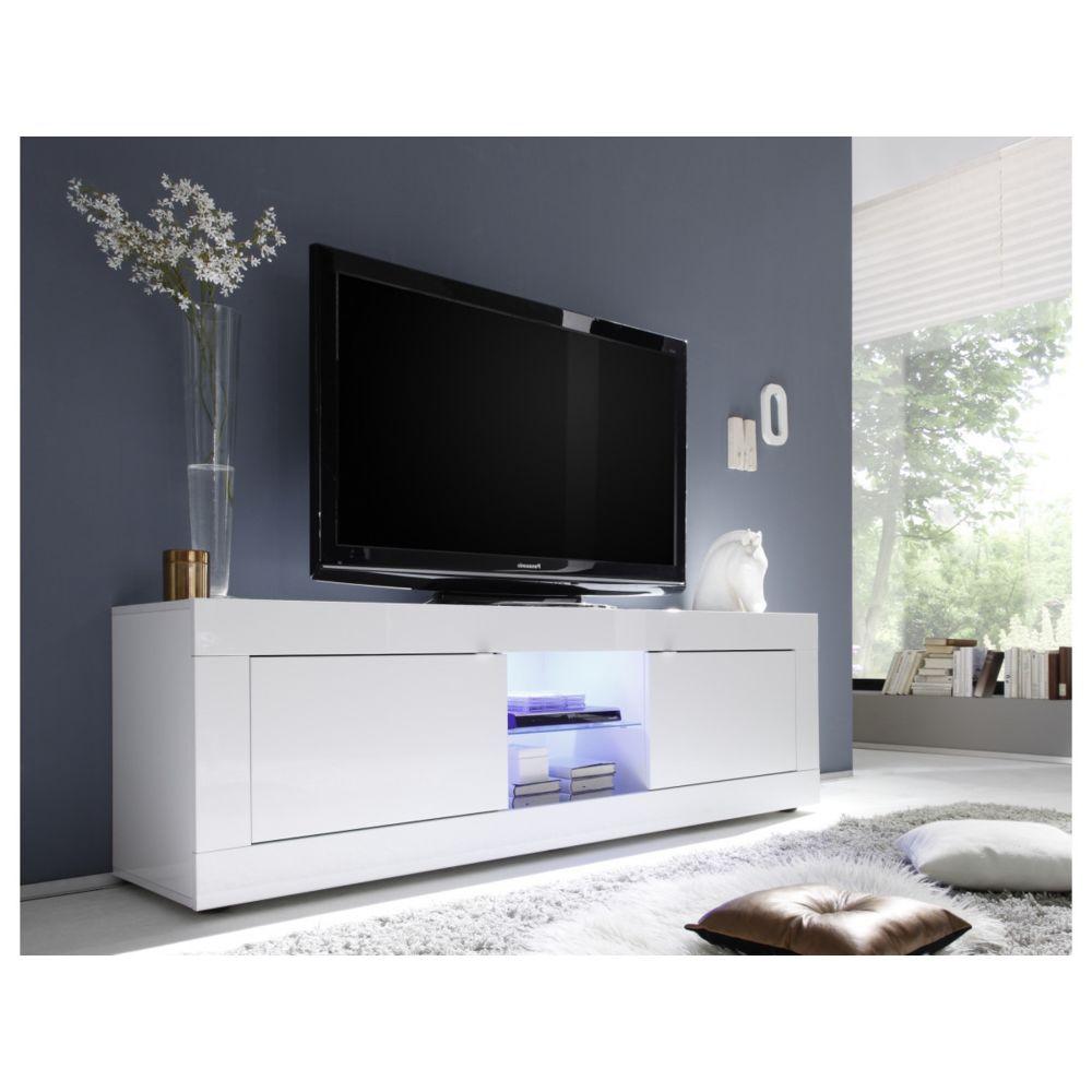 Subleem SUBLEEM Meuble TV grande 2 portes Favara blanc laqué brillant blanc laqué brillant