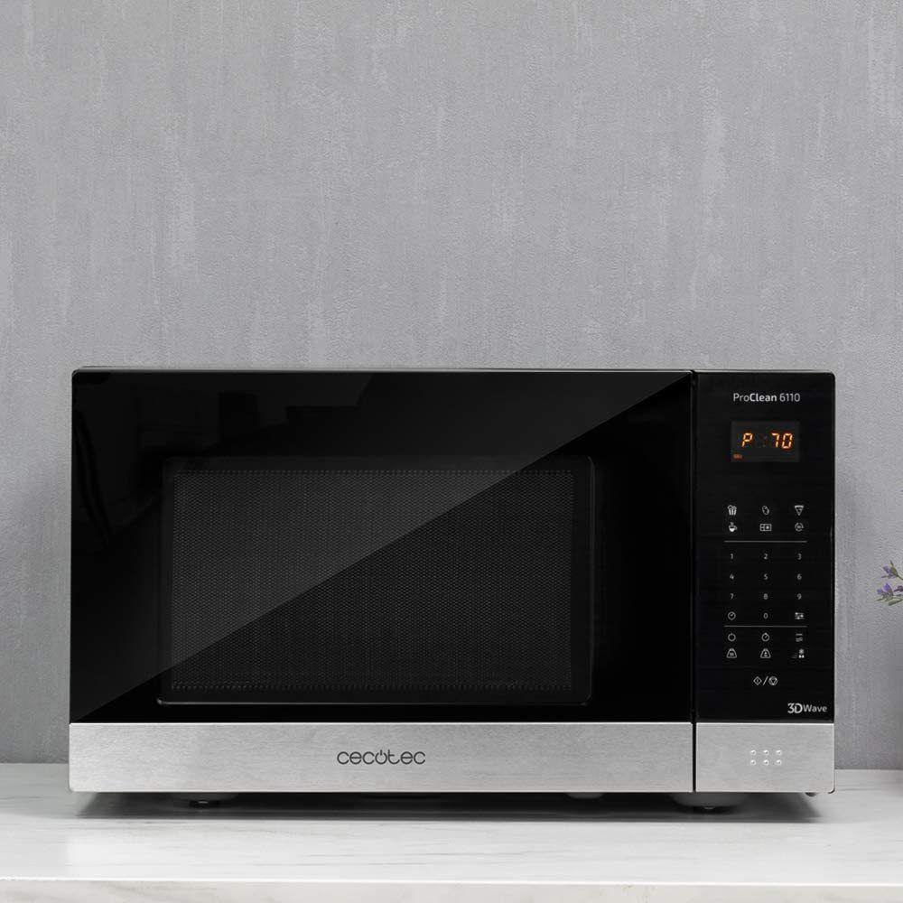 Cecotec Micro-ondes de 23L avec grill et 8 programmes 1000W noir gris