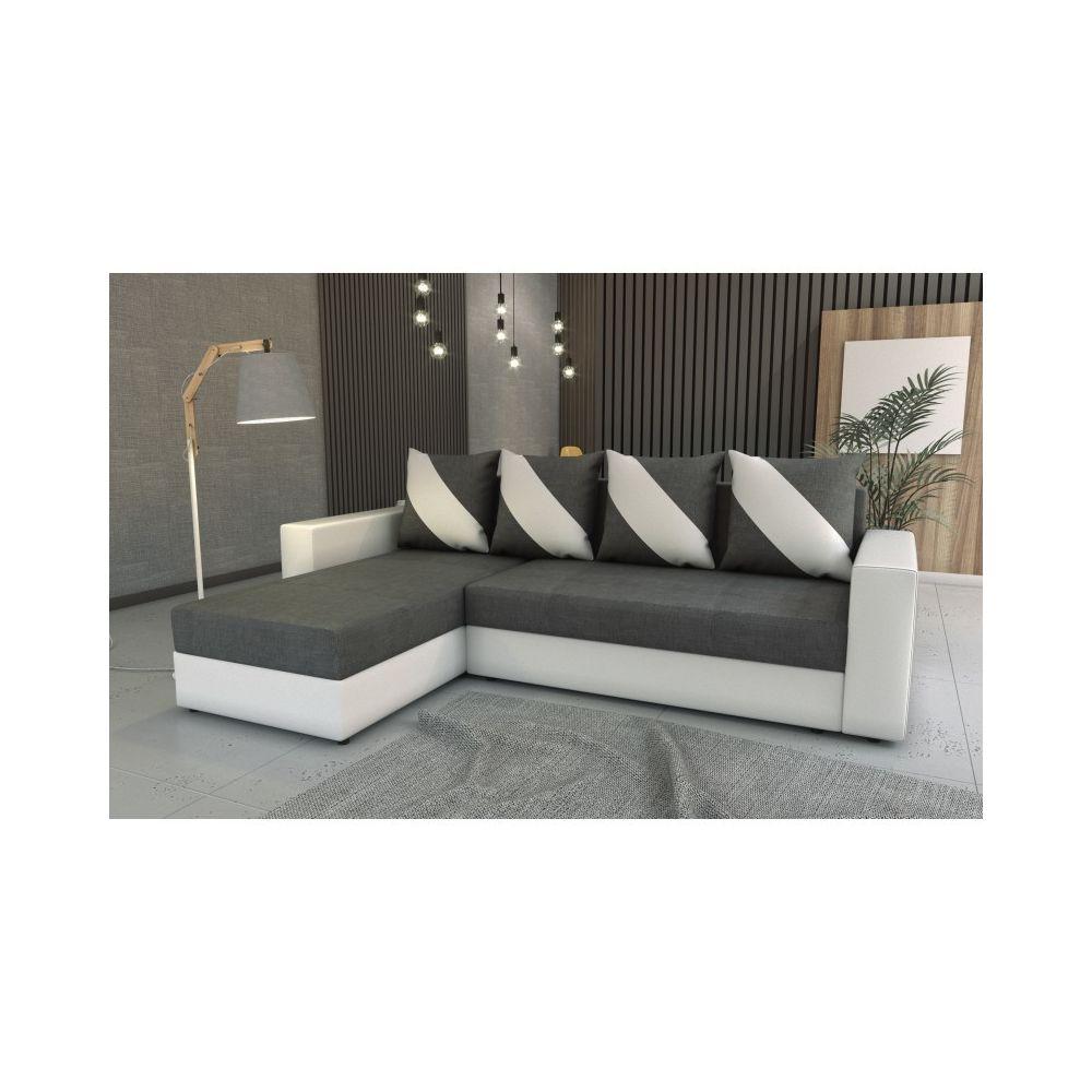 Meublesline Canapé d'angle convertible HULI gris foncé blanc