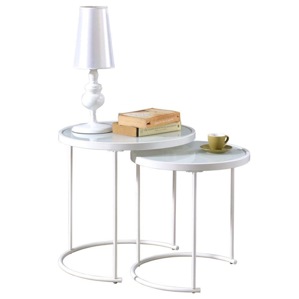 Idimex Lot de 2 tables d'appoint LEYRE tables basses gigognes, tables à café design industriel, plateau rond en verre et cadre