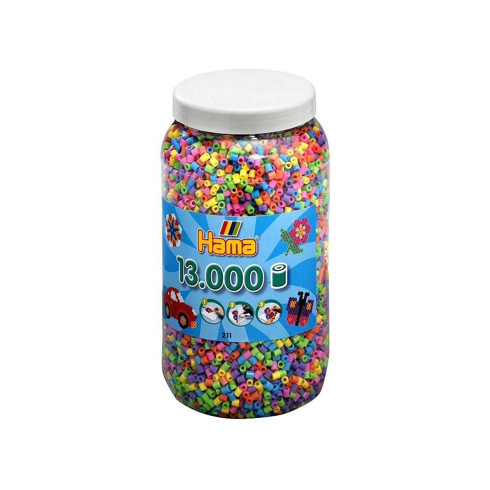 Hama Pot de 13000 perles Hama Midi : 6 couleurs pastel