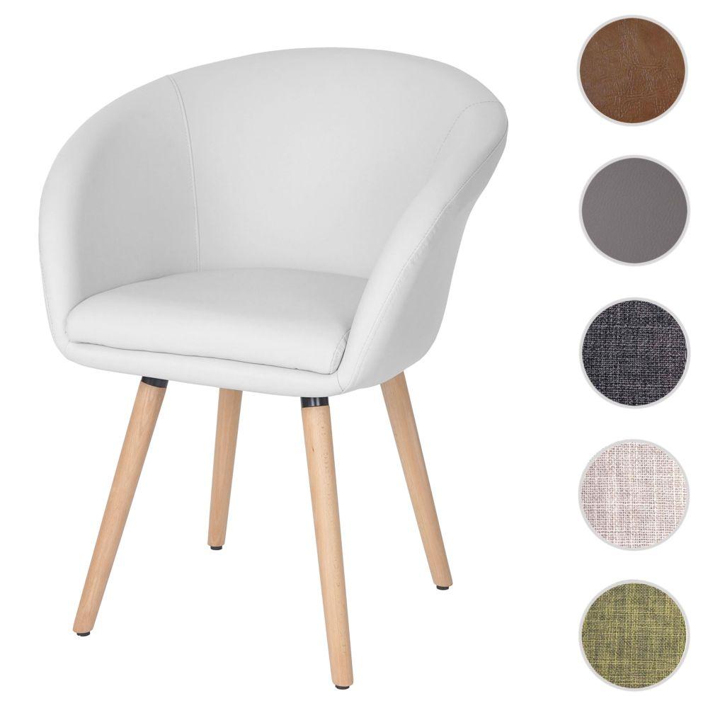 Mendler Chaise de salle à manger Malmö T633, fauteuil, design rétro des années 50 ~ similicuir, blanc