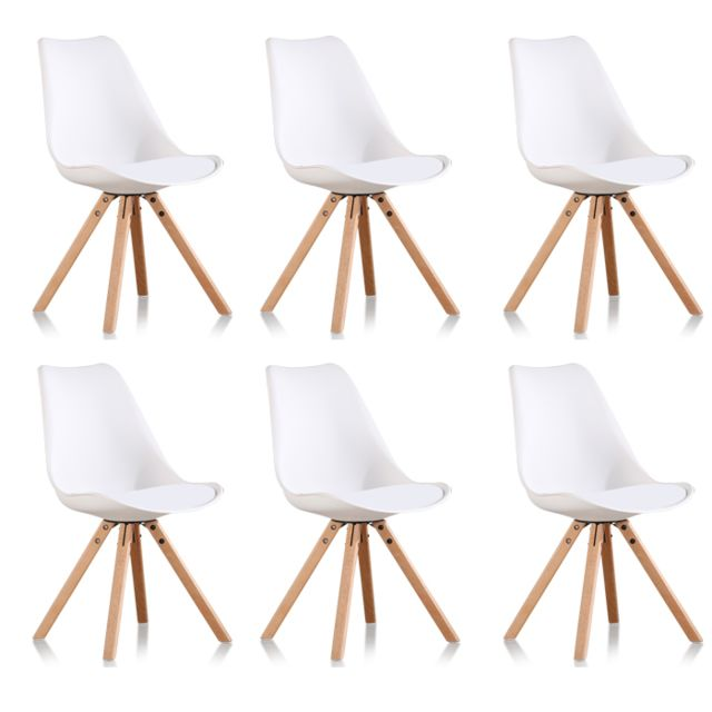 Oneboutic - Lot de 6 chaises scandinaves blanches - Helsinki - Chaises
