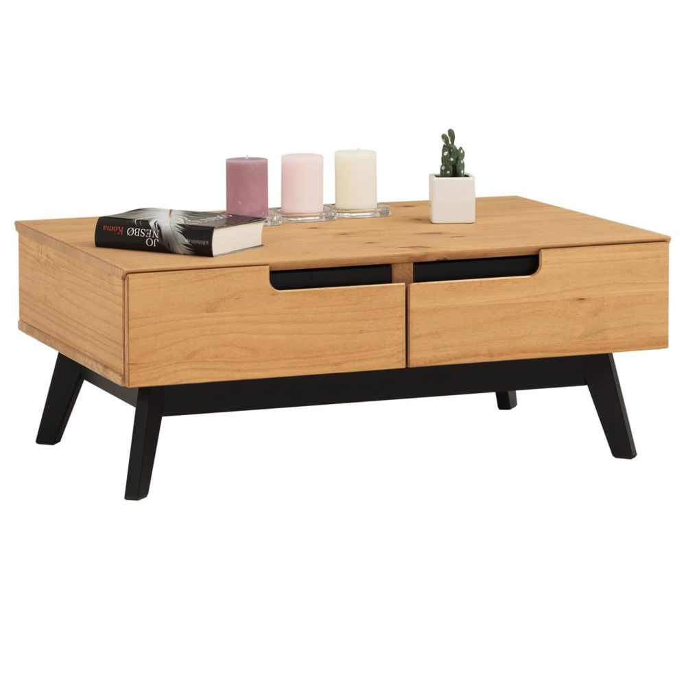 Idimex Table basse TIBOR design vintage scandinave nordique table de salon rectangulaire 2 tiroirs 2 niches pin massif finition