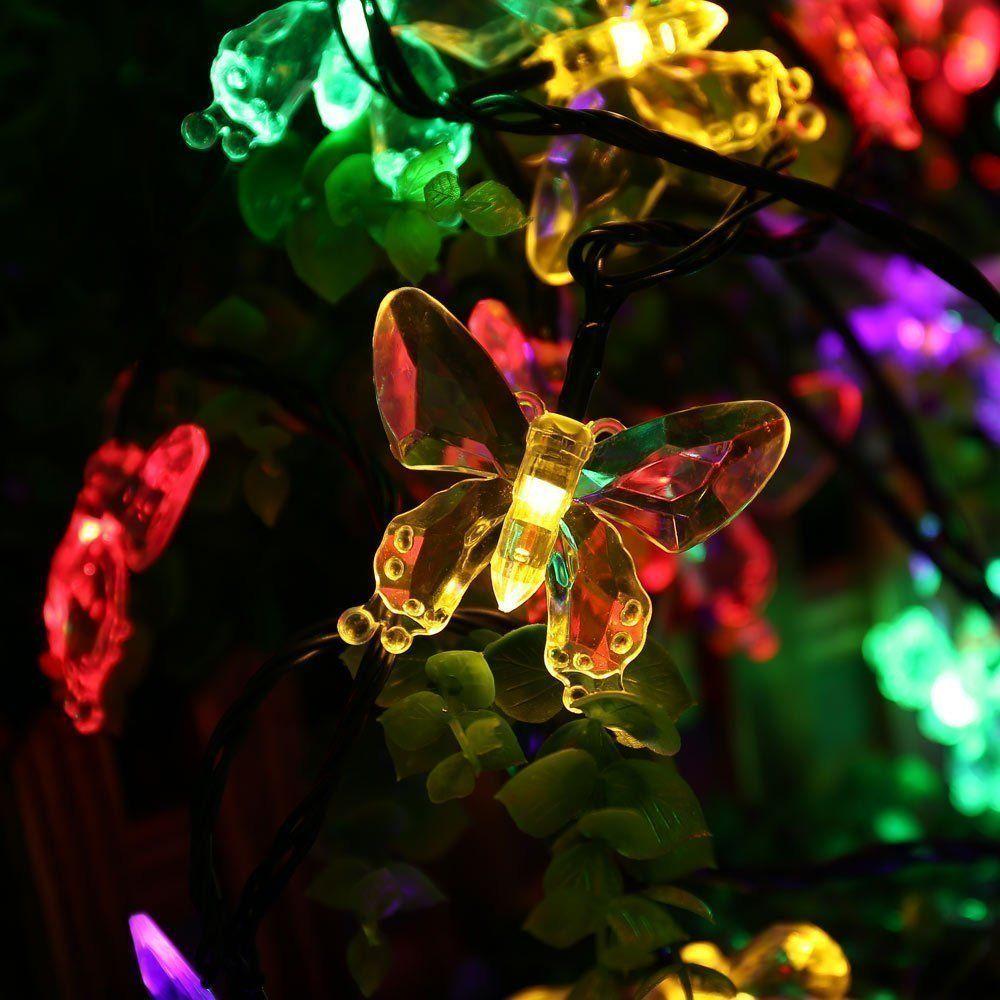 Salcar Guirlande Lumineuse Solaire à LED, décor 20 Papillons Multicolores, illuminations pour Noël et fêtes, 2 Modes d?éclairag