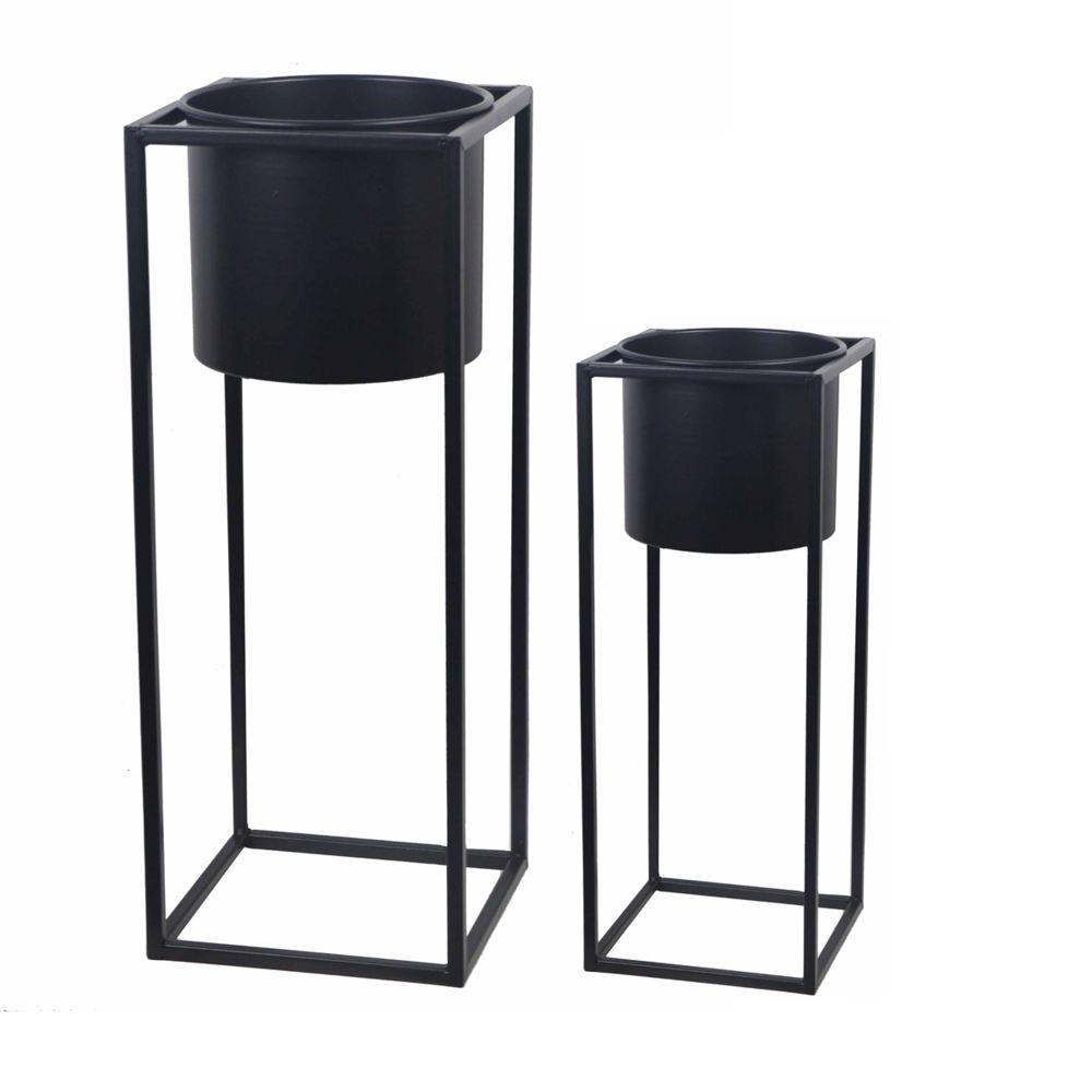 Pegane Lot de 2 pots de fleurs coloris noir en acier -PEGANE-