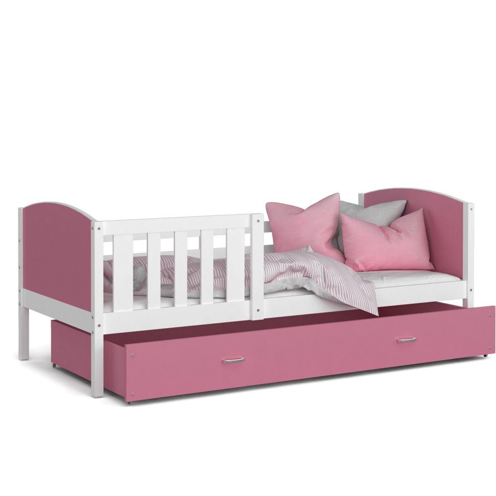 Kids Literie Lit enfant Tomy 90x190 blanc rose livré avec tiroir, sommier et matelas en mousse de 7cm offert