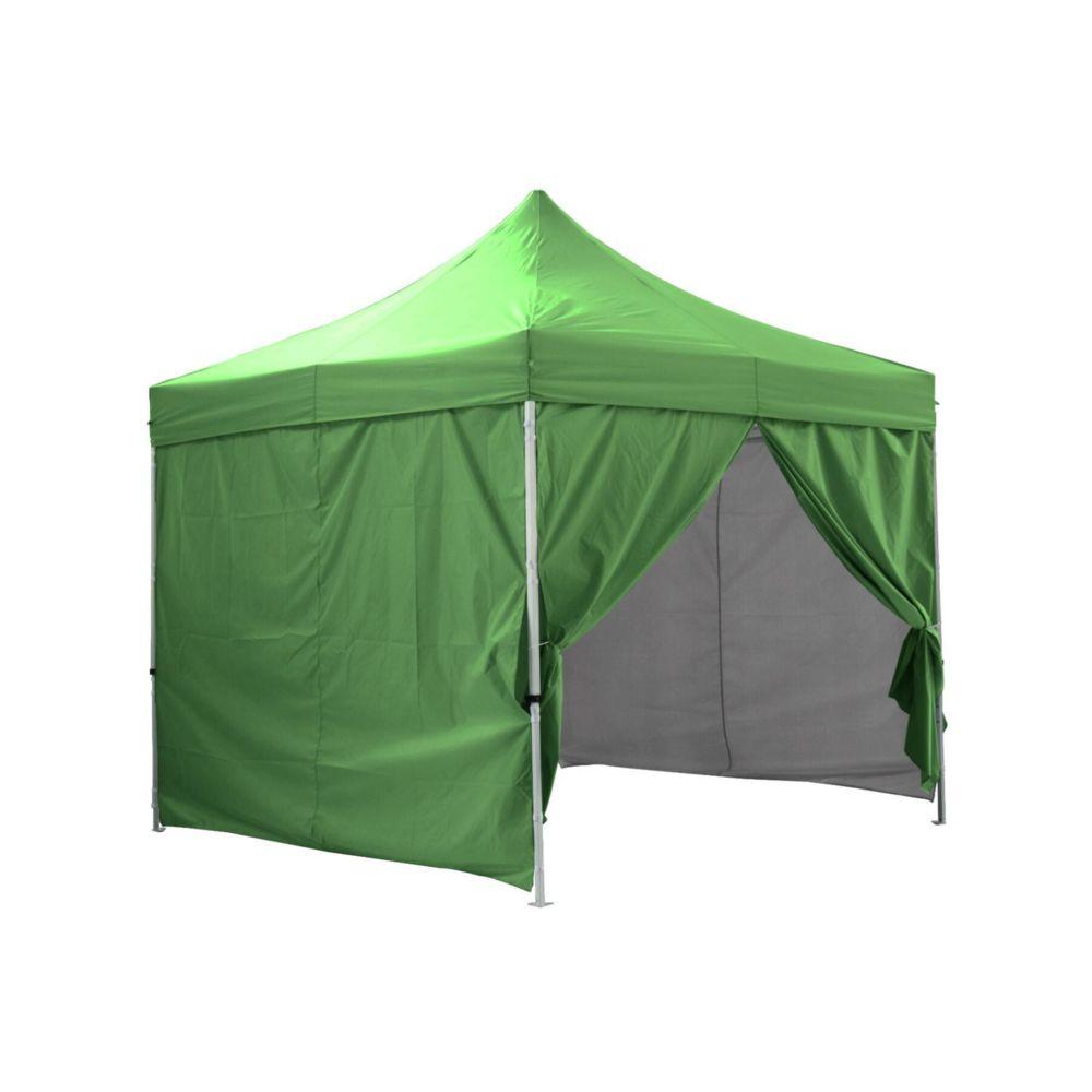 Greaden GREADEN - Tente pliante verte avec 4 murs amovibles 3x3m PREMIUM LIGHT - Tube 32mm en acier - Bâche 420D - Barnum pliant