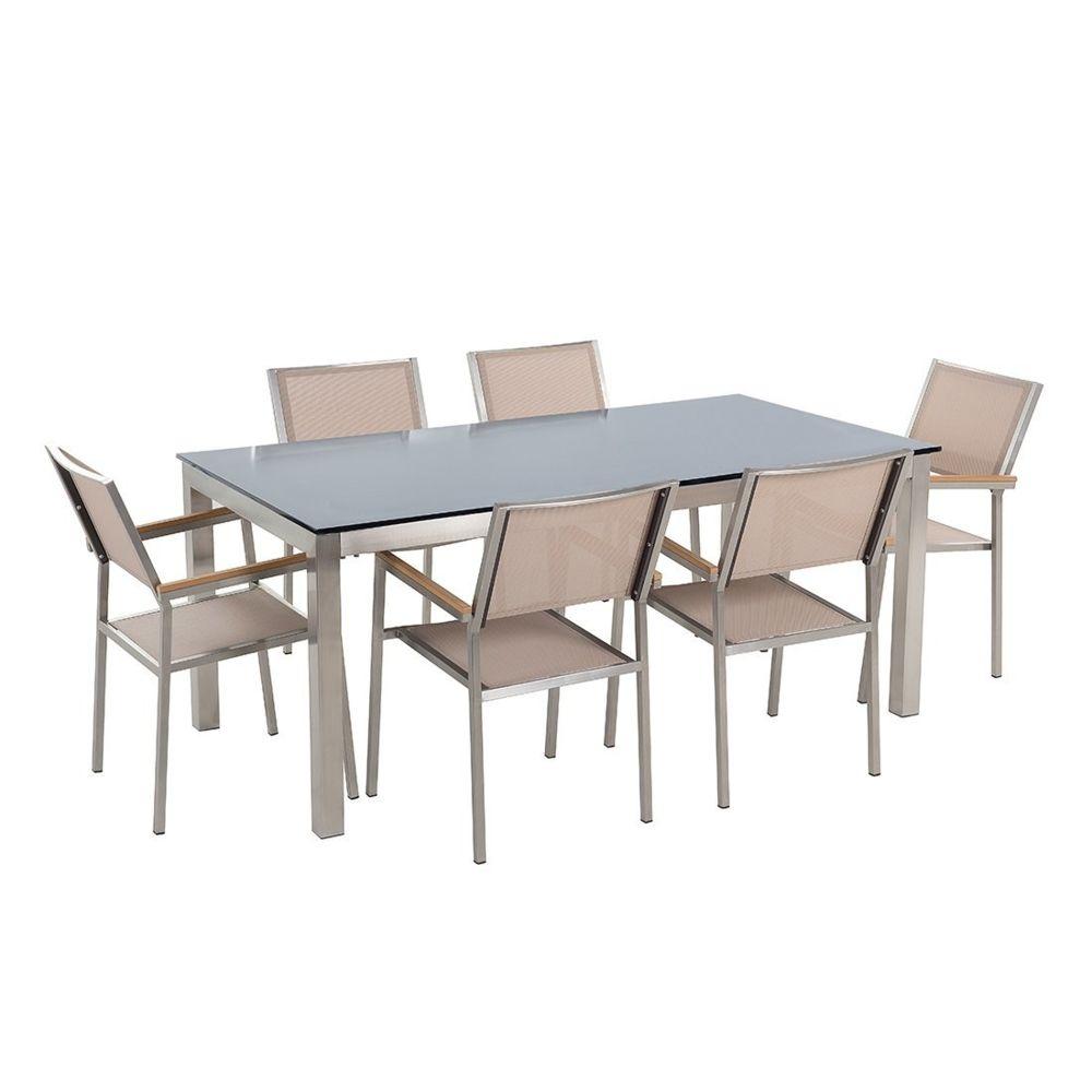 Beliani Ensemble de jardin table en verre noire et 6 chaises beiges - GROSSETO