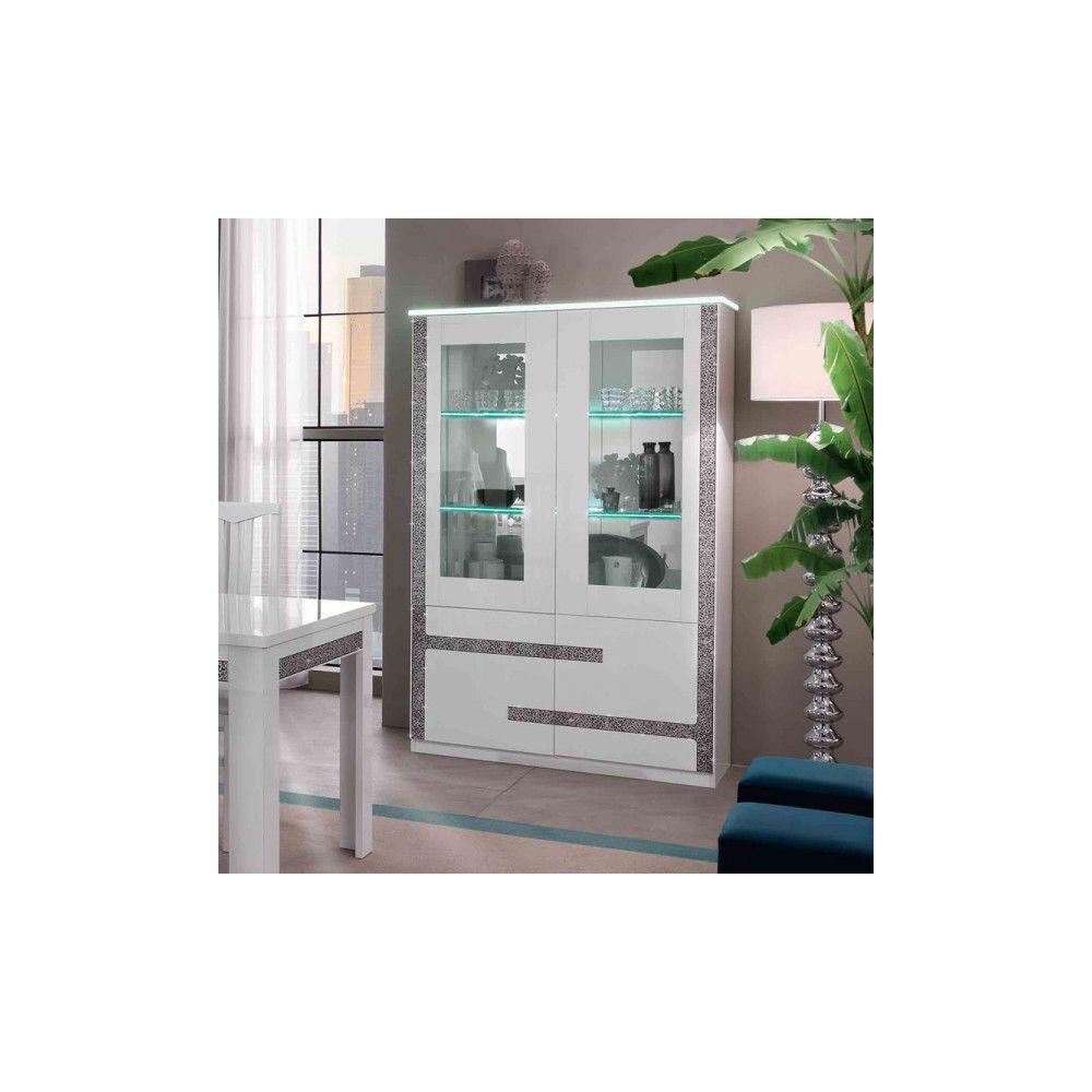 Dansmamaison Vaisselier 4 portes Blanc à LEDs - CRAC - L 118 x l 46 x H 181 cm