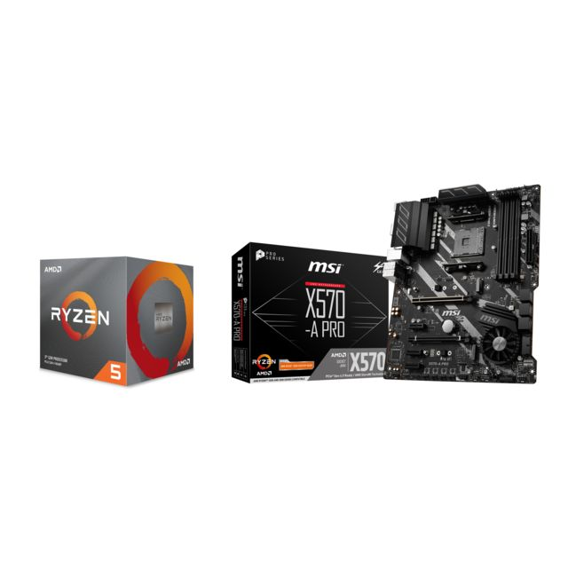Amd - Ryzen 5 3600 Wraith Stealth Edition - 3,6/4,2 GHz + AMD X570 PRO - ATX - Kit d'évolution