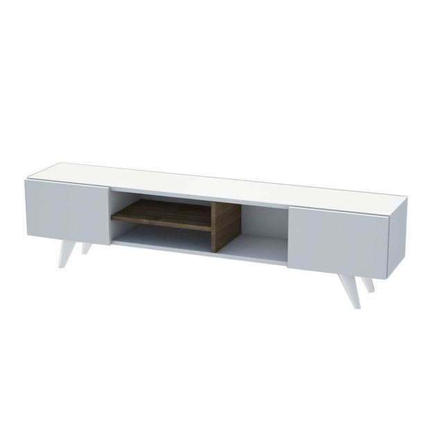 Homemania - Meuble TV scandinave Dore - 160 x 40 cm - Blanc - Mobilier