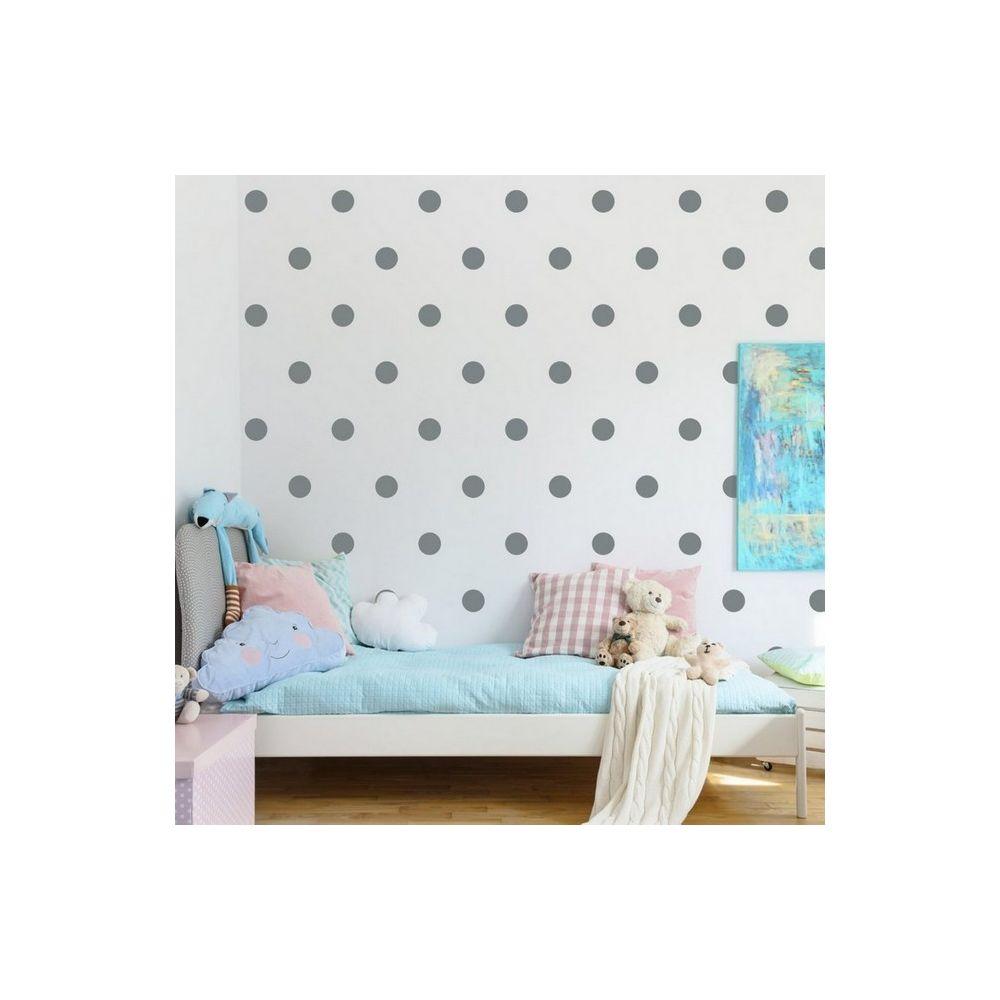 Homemania HOMEMANIA Sticker Polka Dots - Cercle - pour les enfants - au mur - Argent en Vinyle, 20 x 0,2 x 27 cm