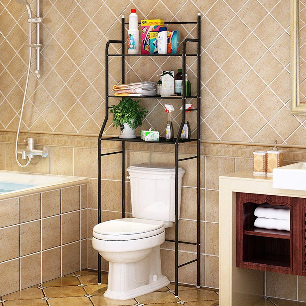 Jeobest Etagère de Salle de Bain, Meuble de Rangement au-Dessus des Toilettes WC,Noir