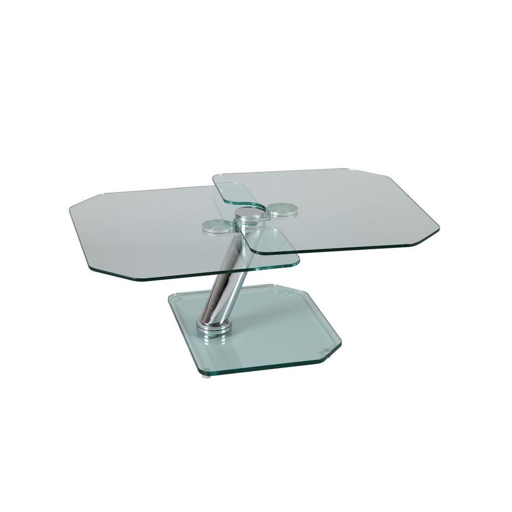 Tousmesmeubles Table basse articulée Acier/Verre - GLASS n°4