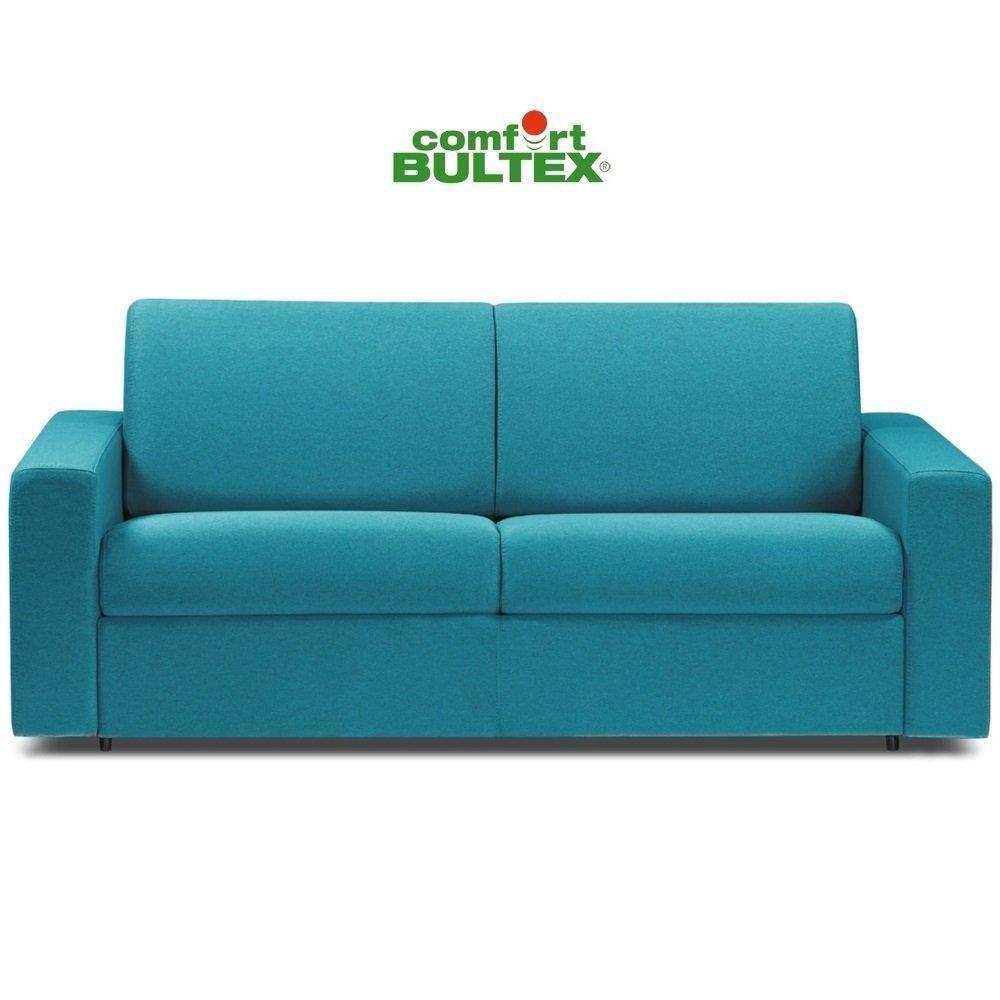 Inside 75 Canapé convertible rapido CRÉPUSCULE matelas 120cm comfort BULTEX® tweed bleu turquoise
