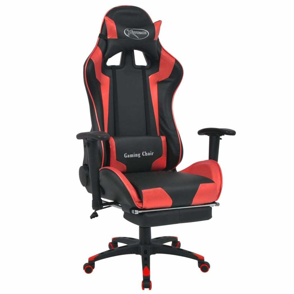 Vidaxl vidaXL Chaise de bureau inclinable avec repose-pied Rouge