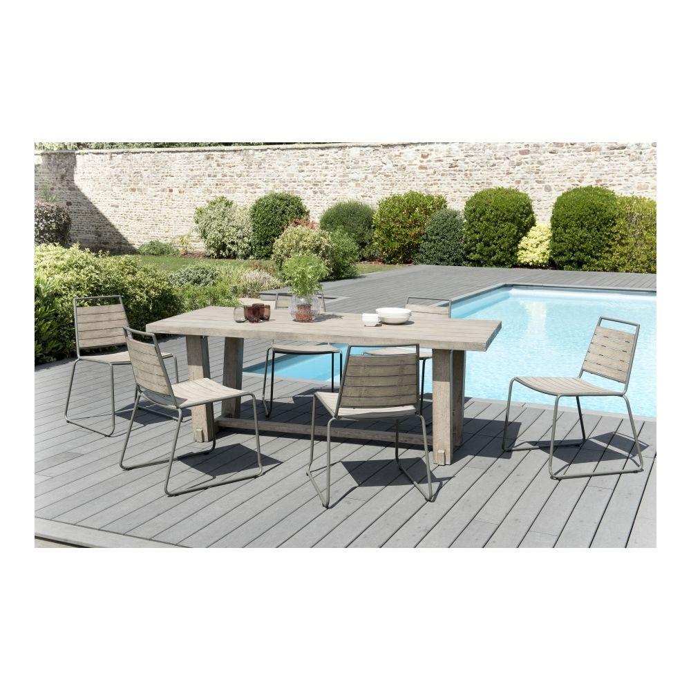 MACABANE Salon de jardin en teck teinté, comprenant 1 table à manger rectangulaire et 3 lots de 2 chaises empilabes bois et métal
