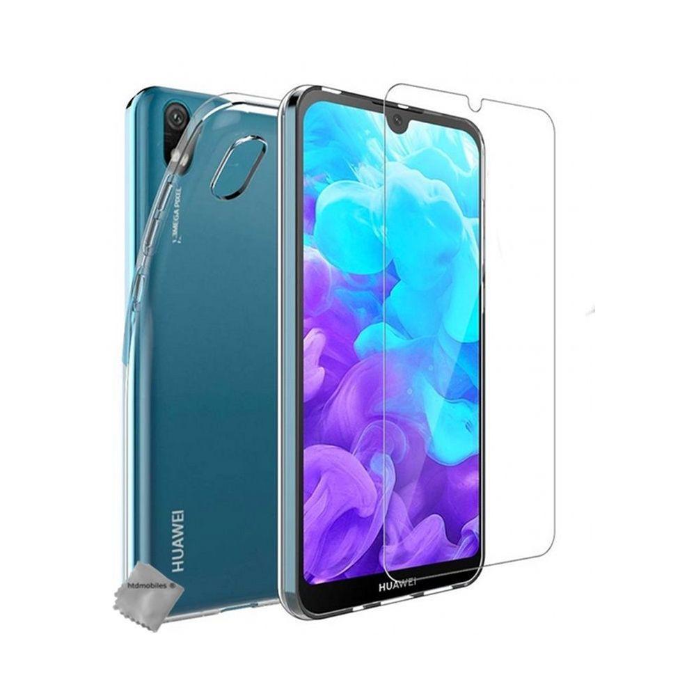 Htdmobiles - Housse etui coque silicone gel fine Huawei Y5 (2019) verre trempe TRANSPARENT TPU