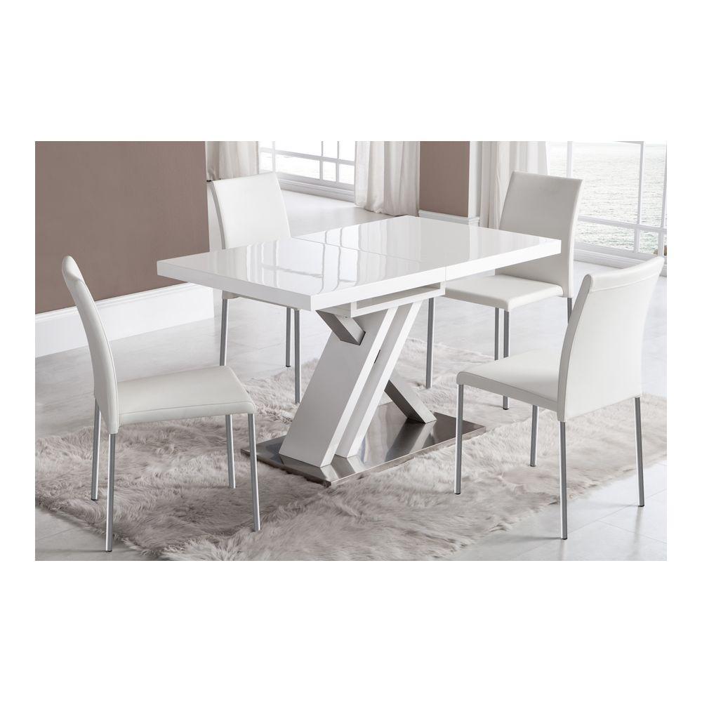 Sofamobili Table de salle à manger extensible blanc laqué et argent design OSAKA