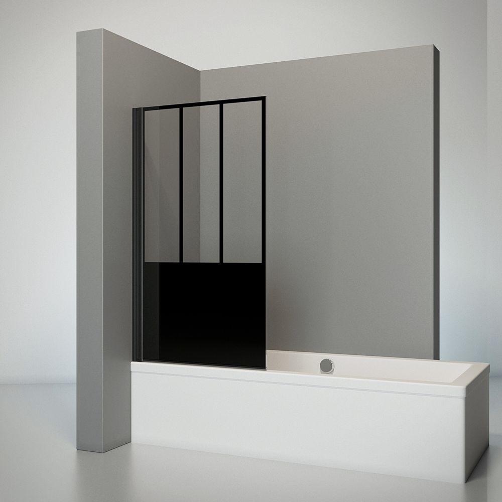 Schulte SCHULTE - Pare-baignoire rabattable 1 volet, 80x140 cm, paroi de baignoire avec traitement anti calcaire, profilé noir,