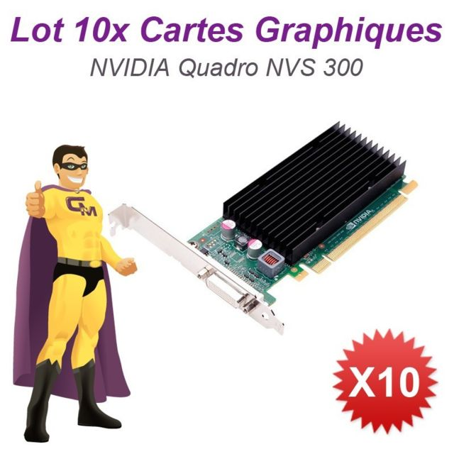 PNY -Lot x10 Carte Graphique PNY NVIDIA Quadro NVS 300 PCIe x16 Long 512Mo GDDR3 PNY  - Occasions Carte Graphique