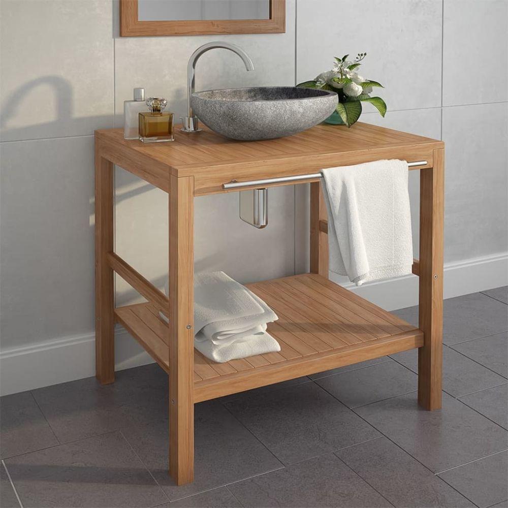 Vidaxl Meuble-lavabo de salle de bains Teck massif 74x45x75 cm   Brun - Meubles lavabos - Armoires et meubles de rangement   Br