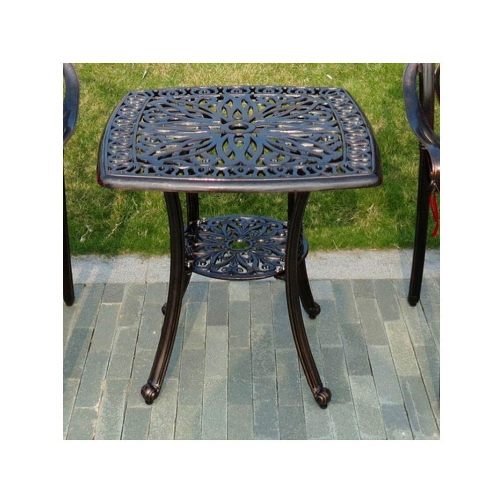 Wewoo Petite table ronde extérieure européenne simple en fonte d'aluminium décontractée d'extérieur noir