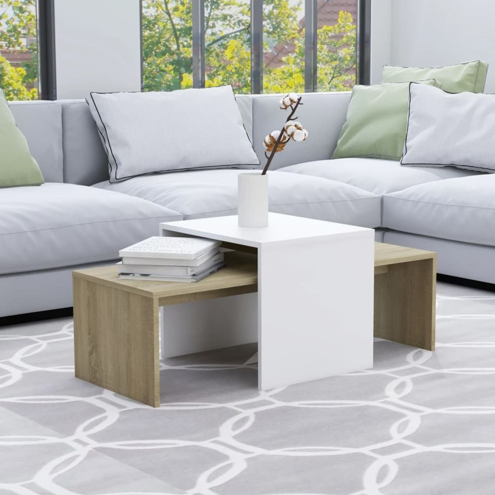 Uco UCO Jeu de tables basses Blanc chêne sonoma 100x48x40 cm Aggloméré