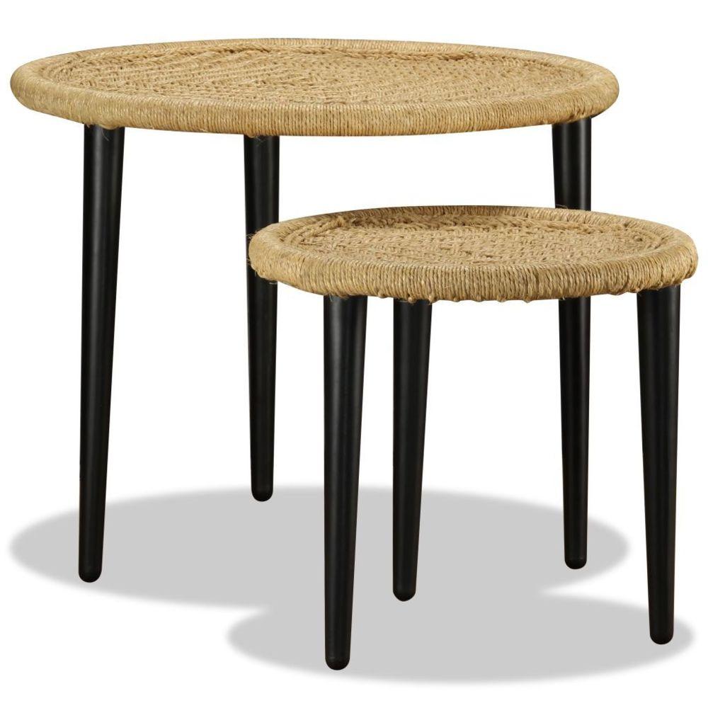 Vidaxl vidaXL 2x Table Basse Détails Tissés Chindi Multicolore Table de Thé Salon
