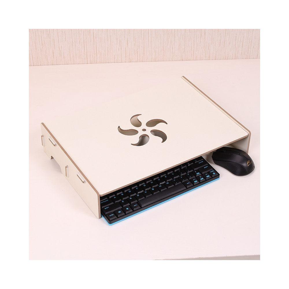 Wewoo Support d'ordinateur portable en bois avec fente de câblage pour moniteur / ordinateur blanc