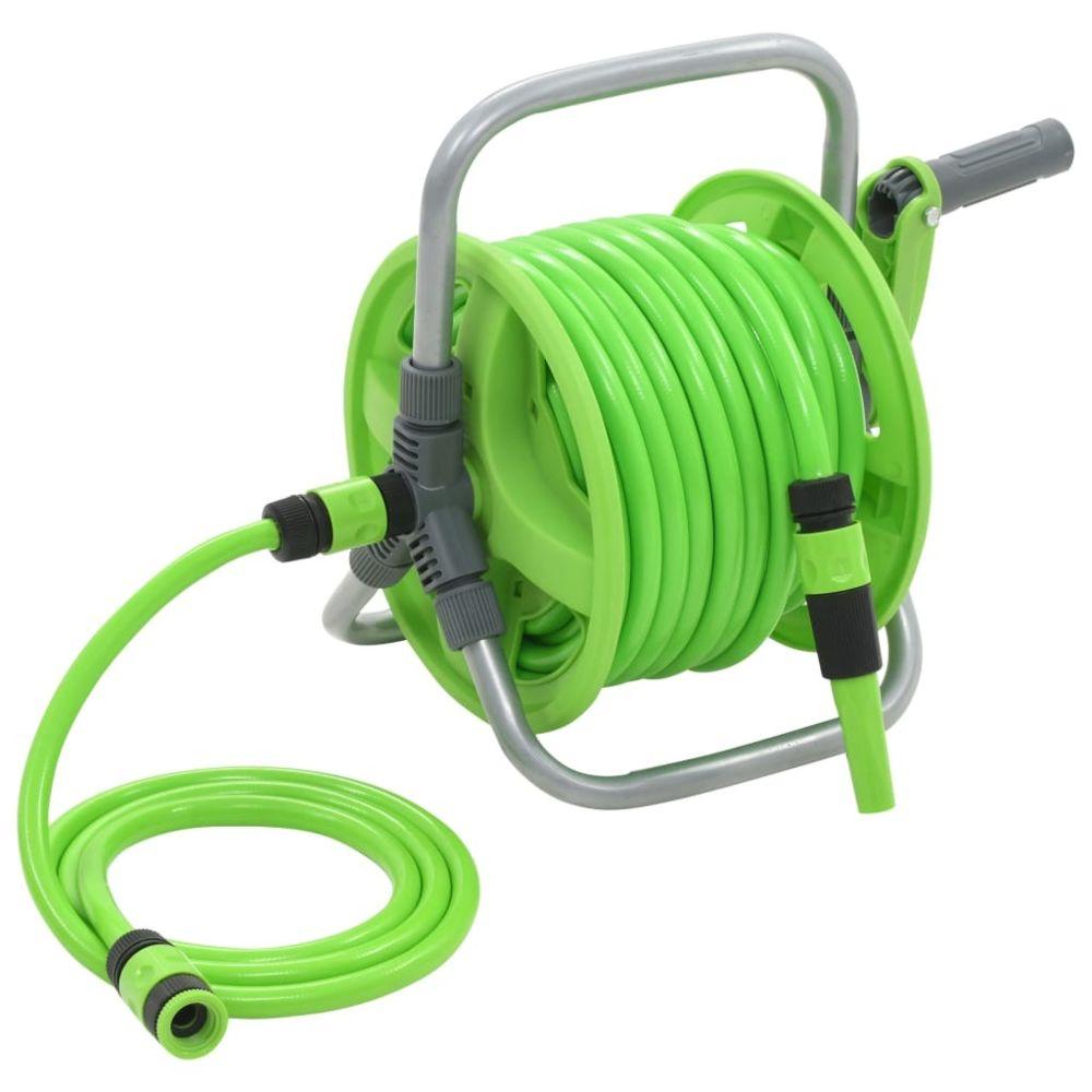 Vidaxl Enrouleur de tuyau d'arrosage 20 + 2 m   Vert - Organisation et rangement d'outils - Porte-tuyau d'arrosage   Vert   Ver